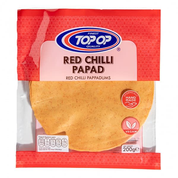TOPOP PAPAD RED CHILI 200g